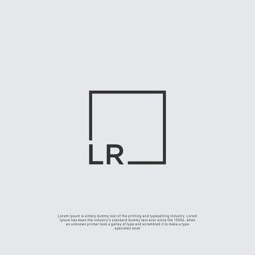 Letter LR Logo design with square frame line business consulting concept