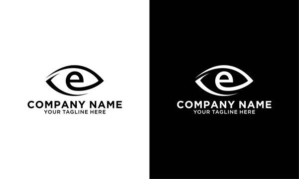Initial letter e or d logo template with eye or leaf line art illustration in flat design monogram symbol