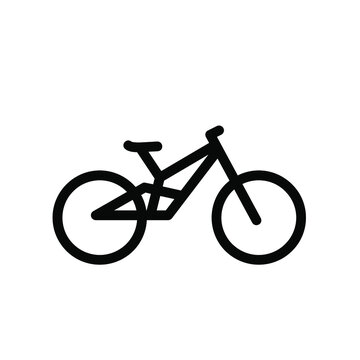 mountain bike simple bicycle line black logo vector icon illustration flat design isolated background