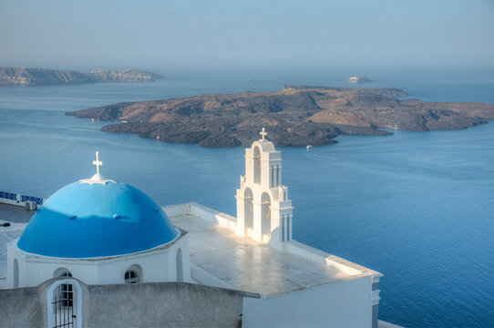 Assumption of the Blessed Virgin Mary church overlooking Nea Kameni island in Greece