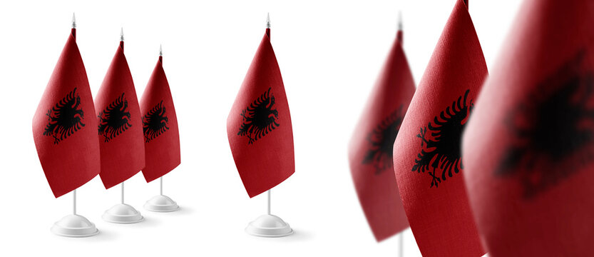 Set of Albania national flags on a white background