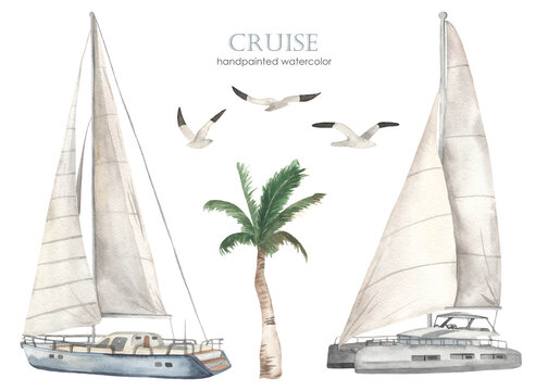 Watercolor set of sea cruise with yacht and catamaran, palm tree, seagulls