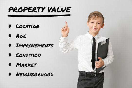 Little real estate agent with aspects of property value on light background