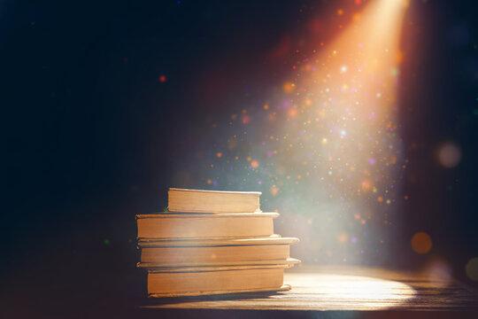 Magic books on dark background
