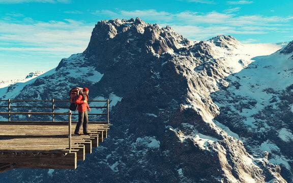 Hiker snow mountain