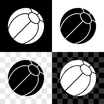 Set Beach ball icon isolated on black and white, transparent background. Vector.