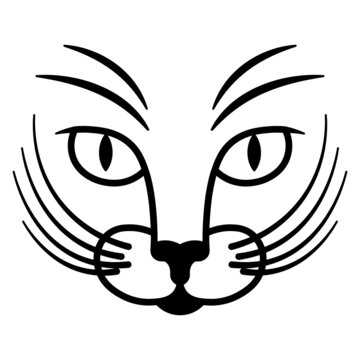 Two-color simple logo with the image of a cat's face