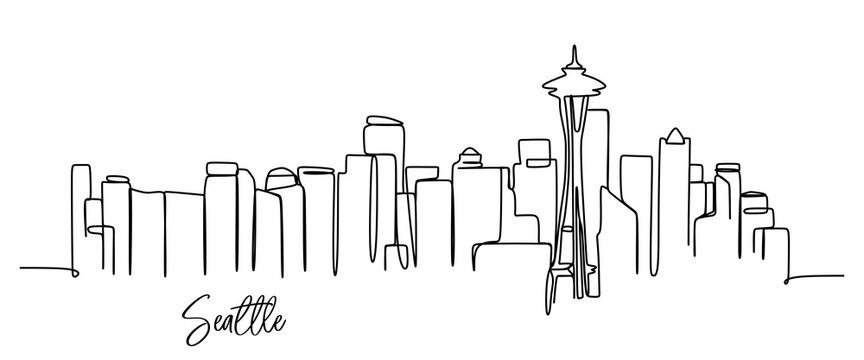 Seattle city skyline - continuous one line drawing
