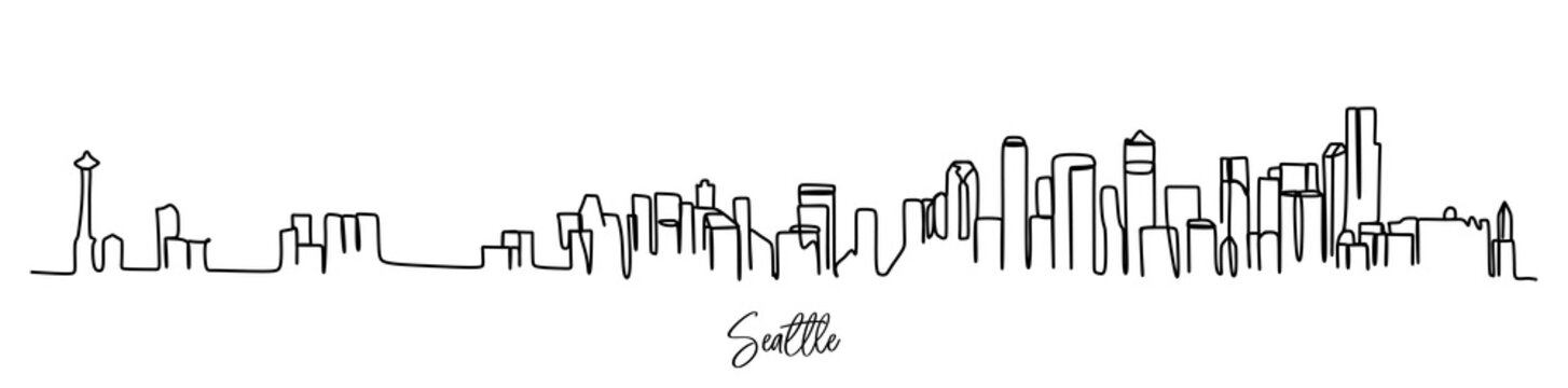 Seattle of the USA  skyline - continuous one line drawing