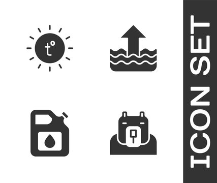 Set Polar bear head, Sun, Canister for gasoline and Rise water level icon. Vector.