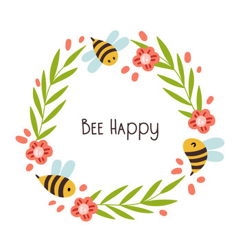 Spring floral frame or wreathe isolated on white background, cartoon bees, flowers and branches, place for text, cute summer decorative design element, vector illustration