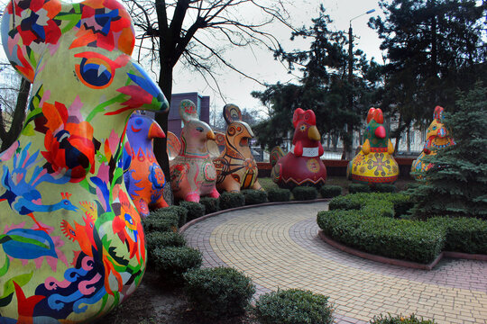 Chornomorsk, Ukraine - March 6, 2016: Ukrainian traditional motives of painted Easter eggs (Pysanka) on sculptures of hens at local Palace of Culture.