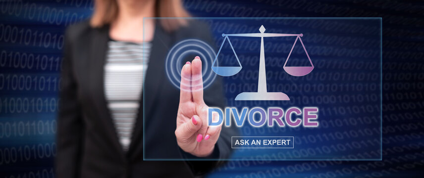 Woman touching an online divorce advice website