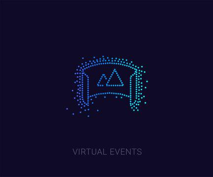 Unique 360 degree camera logo. Panorama picture 360 degree. Camera, photo icon. Virtual reality icon, made of multiple dots, Halftone Icon. Premium quality graphic design. Modern signs, dotted symbols