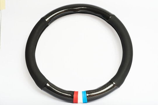 Steering wheel cover with carbon fiber motive
