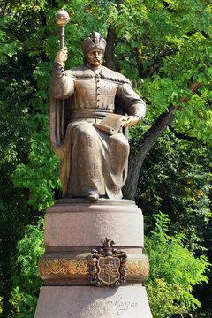 POLTAVA, UKRAINE - SEPTEMBER 3,2016: The monument to Cossack Hetman Ivan Mazepa by Mykola Bilyk opened May 7th, 2-16 at the Cathedral Square in Poltava, Ukraine