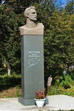 KYIV, UKRAINE - SEPTEMBER 19, 2016: Monument to Petr Nesterov, a Russian pilot, who first performed Nesterov Loop maneuver. Buried in Kyiv.