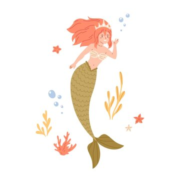 Beautiful redhead mermaid with long hair and fish tail. Cute underwater fairy princess in shell bra and coral crown. Colored flat cartoon vector illustration isolated on white background