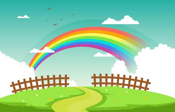 Winding Road Rainbow Nature Landscape Scenery Illustration