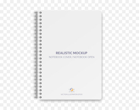 Realistic Notebook mockup, notebook with empty cover  for your design. Realistic notebook with shadows isolated on transparent background. Vector illustration EPS10.