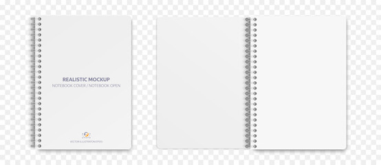 Obraz Realistic notebook mockup, notepad with blank cover and spread for your design. Realistic copybook with shadows isolated on transparent background. Vector illustration EPS10. - fototapety do salonu