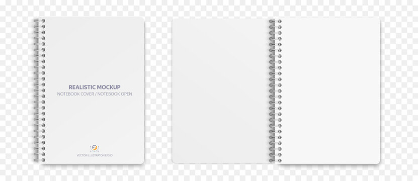Realistic notebook mockup, notepad with blank cover and spread for your design. Realistic copybook with shadows isolated on transparent background. Vector illustration EPS10.