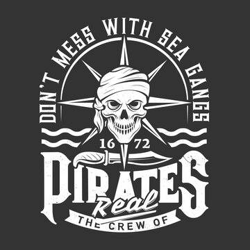 Pirate or corsair skull t-shirt print or emblem. Human skull in bandana or scarf, pirate knife and waves vector. Clothing custom design print template with filibuster, privateer or buccaneer