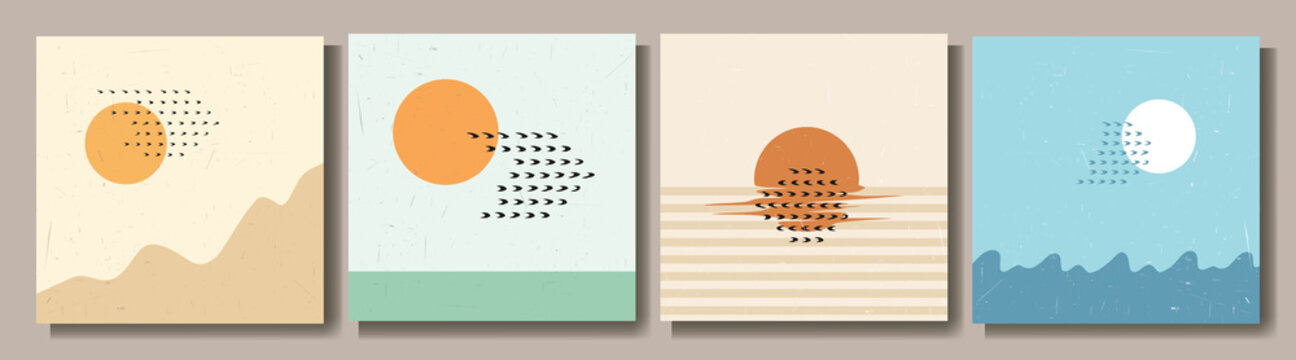 Vector illustration. Surreal sun and birds. Mid century modern graphic. Grunge texture. Minimalist landscape set. Abstract shapes. Design elements for social media template, blog post, square banner