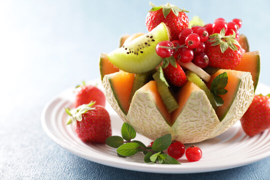 fresh fruit salad with melon and berries fruits
