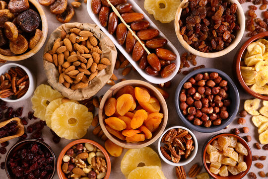 assorted nuts and dried fruit background-organic food