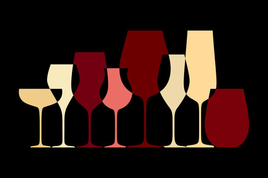 Different wine glasses. Abstract design with different shape glassware for wine tasting and drinking isolated on black background. Vector illustration
