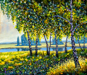 Sunny painting landscape beautiful birch trees on the river bank