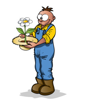 Farmer with a plant growing from his hat