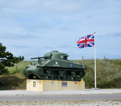 NORMANDY, FRANCE - July 4, 2017: Army commemorative vehicles, along the so-called Utah Beach, at the Normandy landings, during World War II.