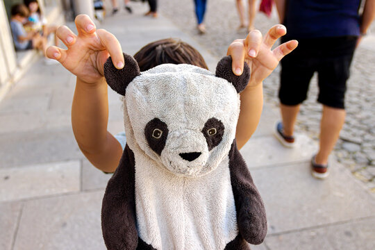 Child with stuffed panda bear holding by the ears