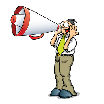 person with megaphone communication an idea