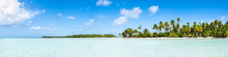 Panoramic view of the Fakarava atoll, Tuamotu Archipelago, French Polynesia