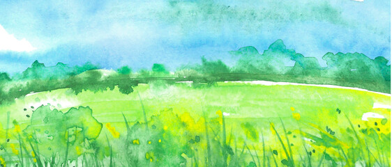 Watercolor painting, landscape of bright green grass, steppe,green, yellow flowers, plants, field, meadow against a bright blue sky. Logo, card for your design.Summer countryside landscape.