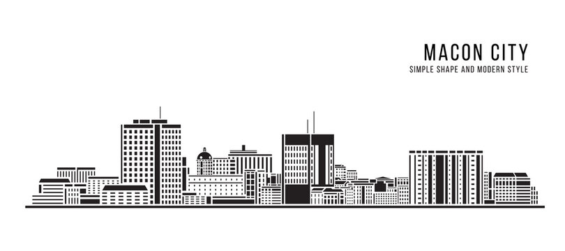 Cityscape Building Abstract Simple shape and modern style art Vector design - Macon city