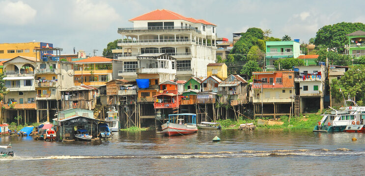 View of the Manaus slums from the Amazon River,Brazil
