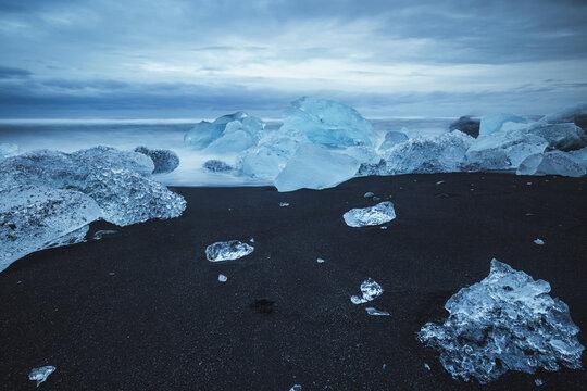 Diamond beach, Iceland, North Atlantic Ocean