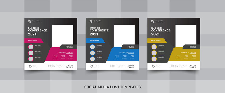 Business conference social media post templates for promotion