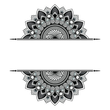 Hand-drawn mandala art with ethnic floral doodle pattern. Coloring page - kaindala, spiritual relaxation for adults, vector illustration, isolated on a white background. Zen doodles, meditation