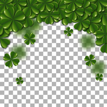 Top border of clovers on isolated background.