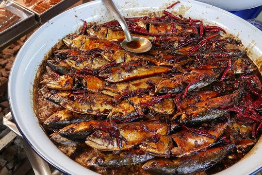 Mackerel fish in sweet sauce, specialty of Amphawa, Thailand