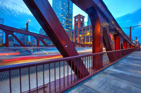 Clark Street Bridge at blue hour, Chicago, Illinois, United States