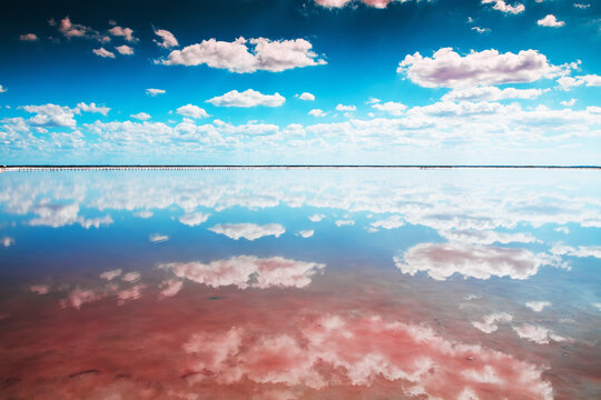 Salt lake with pink salt and the blue sky with clouds. Sasyk-Sivash pink salt lake in Crimea. Summer landscape