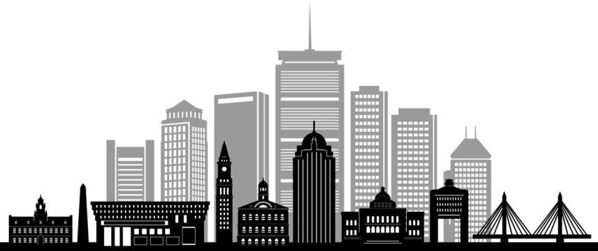 BOSTON Massachusetts SKYLINE City Silhouette