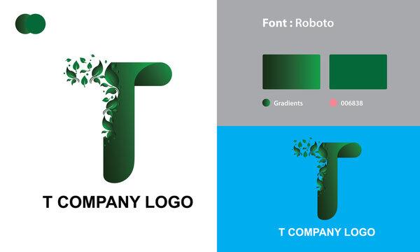 T Company Logo Template Design