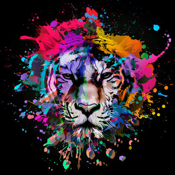 lioness head with creative abstract elements on colorful background